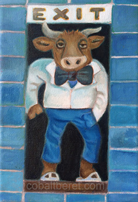 animal bull bouncer under exit sign hand in pocket oil on canvas oil painting giclee print