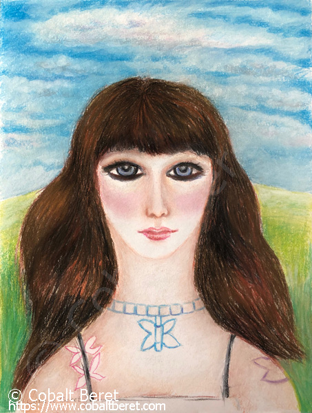 pastel pf a brwon haired girl in a filed wearing  butterfly jewellery giclee print for sale