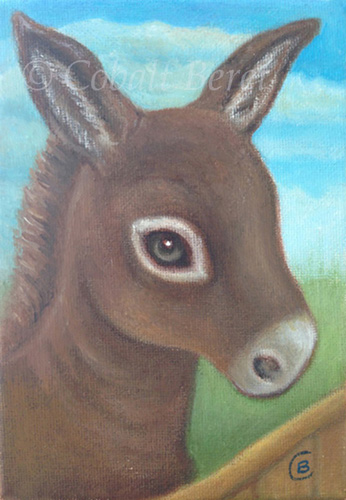 little brown donkey oil on canvas giclee print