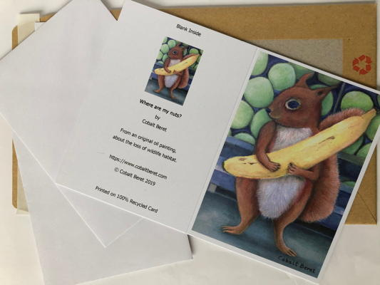red squirrel holding a banana greeting card pack of 6
