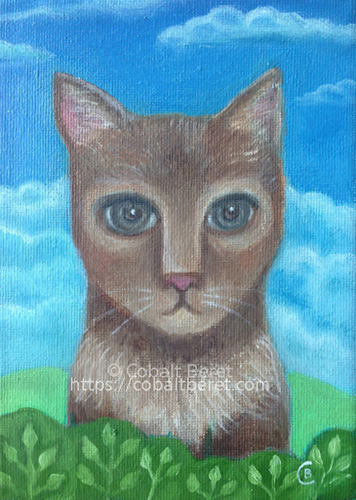surreal brown cat garden hedge blue sky oil on canvas giclee print