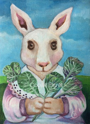 A white hare holding cabbage flowers.  A painting in oils on canvas by Cobalt Beret, titled Mother Hare