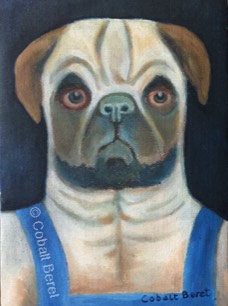 pug painting dog in cothes oil on canvas oil painting giclee print
