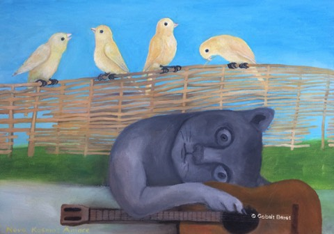 cat guitar birds music painting oil on canvas giclee print