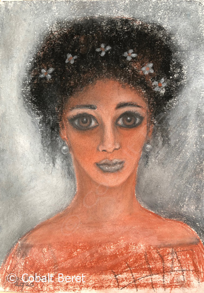pastel drawing and print of a roman egyptian woman