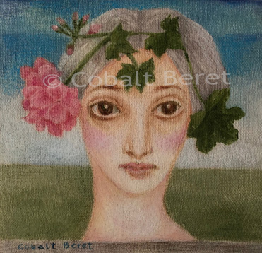 a giclée print  with hand colouring in pastel of a girl with a deep pink geranium on her head