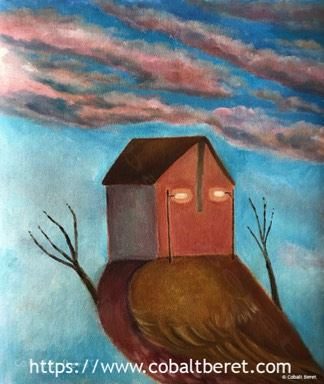 a bird with a house surreal painting and giclee print a lockdown
