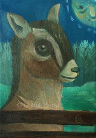 id goat full moon celtic art, pagan art, whimsical oil on canvas giclee print