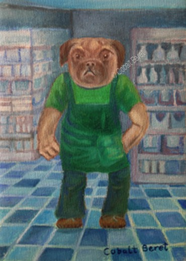 a surreal painting and giclee prints of a pug anthromorphized with his paw underneath his apron and other paw held out in a clenched fist
