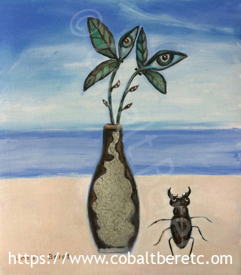A surreal painting of a stag beetle and vase of surreal flowers titled togetherness