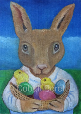 brown rabbit holding basket of eggs chicks oili on caqnvas giclee print